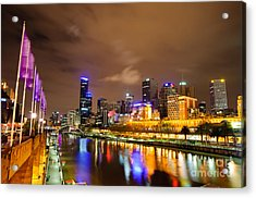 Night View Of The Yarra River And Skyscrapers - Melbourne - Australia Acrylic Print by David Hill