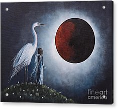 Night With The Great Egret By Shawna Erback Acrylic Print by Shawna Erback