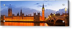 Nightly View - Houses Of Parliament Acrylic Print by Melanie Viola
