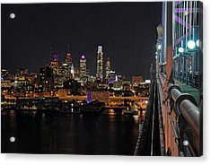 Nighttime Philly From The Ben Franklin Acrylic Print by Jennifer Ancker
