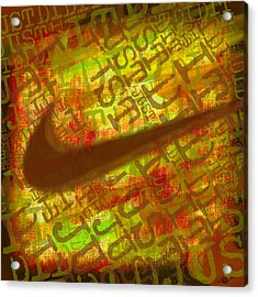 Nike Just Did It Gold Acrylic Print by Tony Rubino