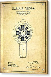 Nikola Tesla Patent Drawing From 1889 - Vintage Acrylic Print by Aged Pixel