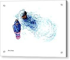 Ninja Stealth Disappears Into Bubble Bath Acrylic Print by Del Gaizo