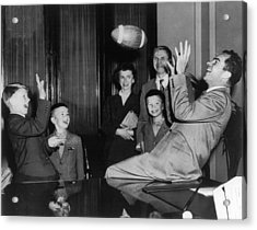 Nixon Catching Football Acrylic Print by Underwood Archives