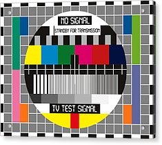 No Tv Signal Poster Art - Tv Graphics Poster Art In Color - No Signal - Standby For Transmission - T Acrylic Print by Celestial Images