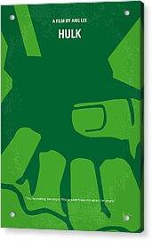 No040 My Hulk Minimal Movie Poster Acrylic Print by Chungkong Art