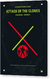 No224 My Star Wars Episode II Attack Of The Clones Minimal Movie Poster Acrylic Print by Chungkong Art