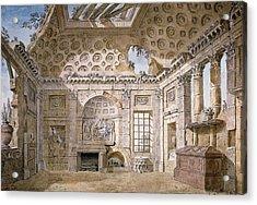 Monastery Of St Trinita Del Monte Acrylic Print by Charles Louis Clerisseau