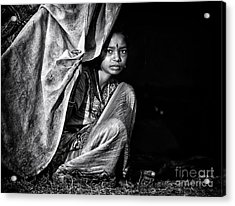 Nomadic South Indian Girl  Acrylic Print by Tim Gainey