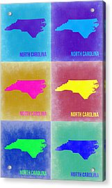 North Carolina Pop Art Map 2 Acrylic Print by Naxart Studio