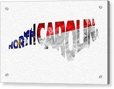 North Carolina Typographic Map Flag Acrylic Print by Ayse Deniz
