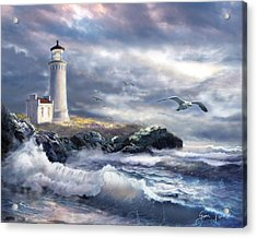 North Head Lighthouse At The Eve Of A Storm Acrylic Print by Regina Femrite