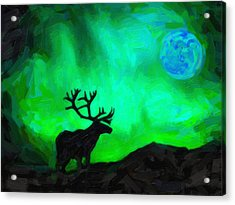 Northern Lights And The Elk Painting By Celestial Images