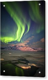 Northern Lights Highway Acrylic Print by Deryk Baumgaertner