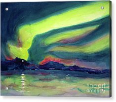 Northern Lights On Superior Shores Acrylic Print by Kathy Braud