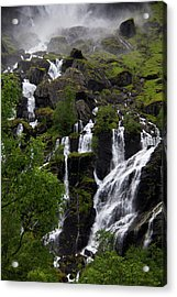 Norway, Flam Lush Waterfall In Flam Acrylic Print by Kymri Wilt