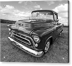 Nostalgia - 57 Chevy In Black And White Acrylic Print by Gill Billington