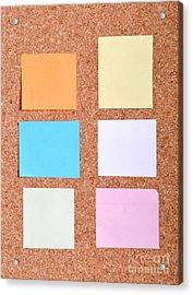 Notes On A Bulletin Board Acrylic Print by Luis Alvarenga