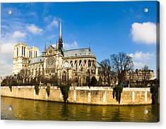 Notre Dame De Paris And The River Seine Acrylic Print by Mark E Tisdale
