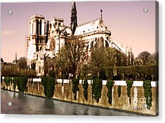 Notre Dame On The Seine Acrylic Print by Linda  Parker