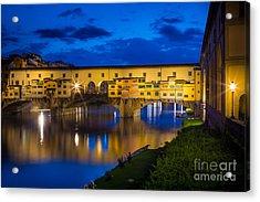 Notte A Ponte Vecchio Acrylic Print by Inge Johnsson
