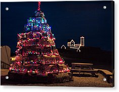 Nubble Lighthouse And Lobster Pot Tree Acrylic Print by Jeff Folger