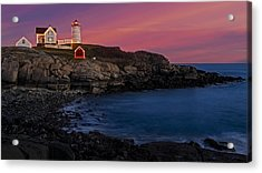 Nubble Lighthouse At Sunset Acrylic Print by Susan Candelario