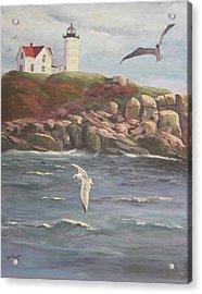 Nubble Lighthouse Acrylic Print by Bev Finger