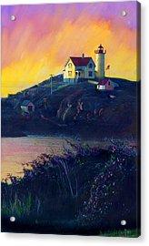 Nubble Lighthouse Acrylic Print by Cindy McIntyre