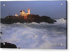 Nubble Lighthouse Holiday Lights And High Surf Acrylic Print by John Burk