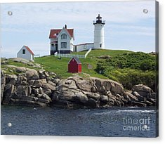 Nubble Lighthouse In Maine Acrylic Print by Stella Sherman