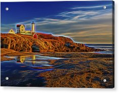 Nubble Lighthouse Neon Glow Acrylic Print by Susan Candelario
