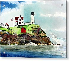 Nubble Lighthouse Acrylic Print by Tom Riggs