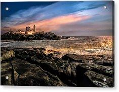 Nubble Lighthouse Winter Solstice Sunset Acrylic Print by Bob Orsillo