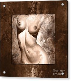 Nude Details - Digital Color Version Frame Brown Acrylic Print by Emerico Imre Toth