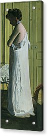 Nude In An Interior Acrylic Print by Felix Edouard Vallotton