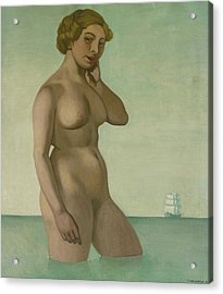 Nude With A Frigate Acrylic Print by Felix Edouard Vallotton
