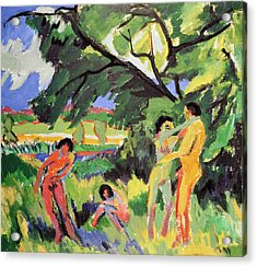 Nudes Playing Under Tree Acrylic Print by Ernst Ludwig Kirchner
