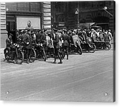 Ny Armored Motorcycle Squad  Acrylic Print by Underwood Archives