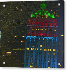 Nyc Christmas Time Acrylic Print by Sue Rosen