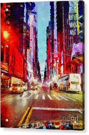 Nyc Fifth Ave Acrylic Print by Janine Riley