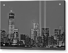 Nyc Remembers September 11 Bw Acrylic Print by Susan Candelario