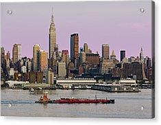 Nyc Skyline And Atb Last Light Acrylic Print by Susan Candelario