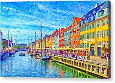 Nyhavn In Denmark Painting Acrylic Print by Antony McAulay
