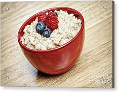 Oatmeal Porridge Acrylic Print by Helen Sessions