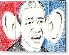 Barack Obama Action Figure Triptych Acrylic Print by Art Now And Here