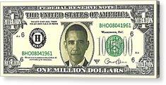 Obama Million Dollar Bill Acrylic Print by Charles Robinson