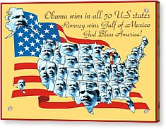 Obama Victory Map Us Election 2012 - Poster Art Acrylic Print by Art America Online Gallery