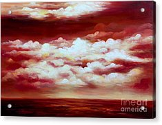 Ocean Sunset - Abstract Oil Painting Original Modern Contemporary Art House Wall Deco Acrylic Print by Emma Lambert