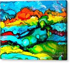 Ocean Tempest Tile Acrylic Print by Alene Sirott-Cope